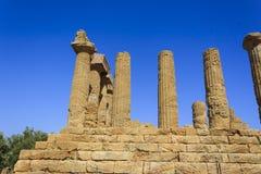 朱诺希腊寺庙在阿哥里根托-西西里岛,意大利 图库摄影