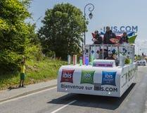 朱鹭旅馆有蓬卡车-环法自行车赛2015年 免版税库存照片