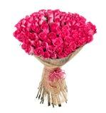 100朵桃红色玫瑰花花束  免版税库存照片