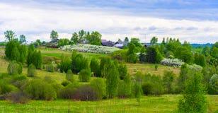 8朵添加大蓝色云彩遥远的容易的eps调遣五前景格式绿色横向草甸计划红色农村天空春天那里郁金香村庄 免版税库存图片