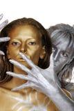 机体金子被绘的银色妇女 库存照片