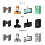 机制,电,运输和其他网象在动画片,黑色,单色样式 通行证,公众,运输,象 库存例证