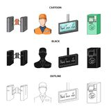 机制,电,运输和其他网象在动画片,黑色,概述样式 通行证,公众,运输,象 向量例证