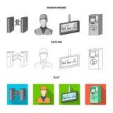 机制,电,运输和其他网象在舱内甲板,概述,单色样式 通行证,公众,运输,象 库存例证