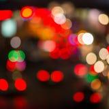 机动车路的Defocused夜光 运输 免版税库存图片