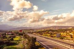 A1机动车路,首先和在塞浦路斯修造的最长的机动车路 免版税库存照片