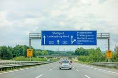 机动车路A81 -斯图加特/路德维希堡/普莱德尔斯海姆 库存照片