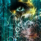 机器二进制和人的脸 免版税图库摄影