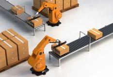 机器人上货盘的II 免版税库存图片