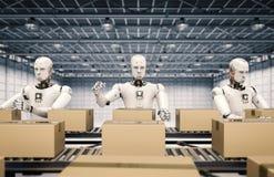 机器人与纸盒箱子一起使用 皇族释放例证