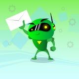 机器人举行信封电子邮件Inbox消息事务 免版税图库摄影