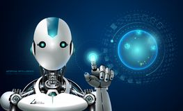 机器人人工智能技术聪明的lerning的全息图 库存例证