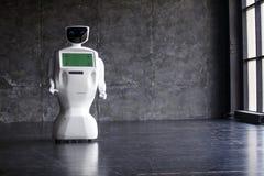 机器人人 聪明的技术概念 巧妙的机器人特写镜头  现代机器人技术 机器人显示情感 免版税库存照片