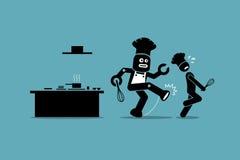 机器人厨师在厨房踢从做他的工作的一位人的厨师 库存图片