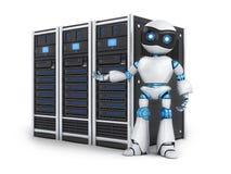 机器人和三服务器 免版税库存照片