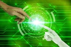 机器人和人的手有接触的在自然背景,人工智能和技术生态概念 图库摄影