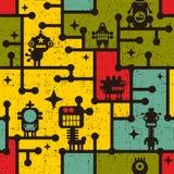 机器人和妖怪五颜六色的无缝的样式。 库存照片