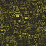 机器人和妖怪无缝的样式 免版税库存图片
