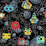 机器人和妖怪有泡影无缝的样式的。 免版税图库摄影