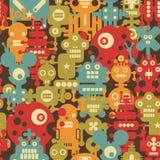 机器人和妖怪现代无缝的样式。 图库摄影