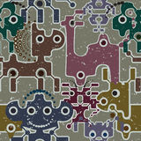 机器人和妖怪逗人喜爱的无缝的模式。 免版税图库摄影