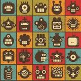 机器人和妖怪细胞无缝的背景。 免版税库存照片