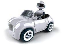 机器人和汽车 皇族释放例证