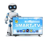 机器人和现代聪明的电视 向量例证