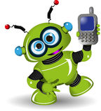 机器人和电话 免版税库存照片