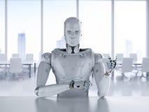 机器人在办公室坐 库存例证