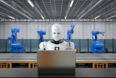机器人在工厂 库存例证