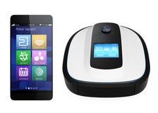 机器人在白色背景和巧妙的电话隔绝的吸尘器 IoT (事互联网)概念 库存照片
