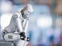 机器人坐下和认为 皇族释放例证