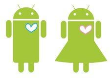 机器人夫妇年轻人 免版税库存图片
