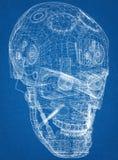 机器人头设计建筑师图纸 皇族释放例证