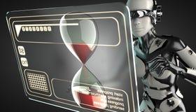 机器人妇女操作的全息图显示 免版税库存照片