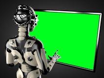 机器人妇女操作的全息图displey 免版税图库摄影