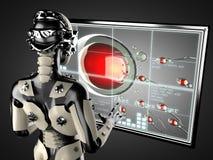 机器人妇女操作的全息图displey 库存照片
