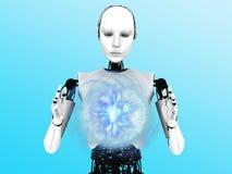 机器人妇女藏品等离子范围。 免版税图库摄影