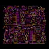 机器人工作氖上色传染媒介艺术品 图库摄影