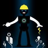 机器人工程学和机械树形状 概念能量和技术 免版税库存照片