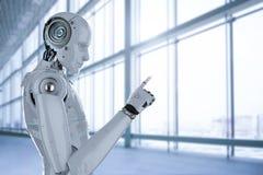 机器人手指点 免版税库存照片