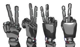 机器人手显示两个手指 3d翻译 免版税库存照片