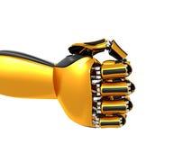 机器人手金子和黑颜色 免版税库存图片
