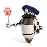 机器人拿着停车牌的交警 免版税库存图片