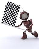 机器人挥动的方格的旗子 免版税图库摄影