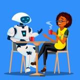 机器人有与朋友妇女的一美好时光在表上在咖啡馆传染媒介 按钮查出的现有量例证推进s启动妇女 向量例证