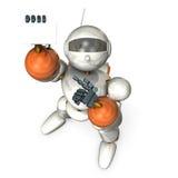 机器人有自已介绍和指向名片 库存照片