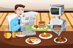 机器人服务早餐 库存图片
