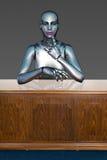 机器人机器人女商人在办公室 免版税库存图片